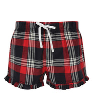 Load image into Gallery viewer, Women's tartan frill shorts Red and Navy