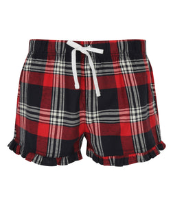 Women's tartan frill shorts Red and Navy