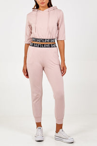 Love Cropped Hoodie Lounge Set Pink