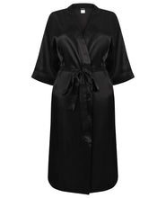 Load image into Gallery viewer, Women's Kimono Style satin robe black