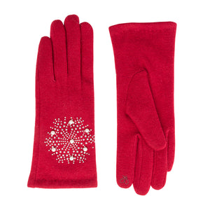 Tillie Jewelled Gloves Red - Scattee