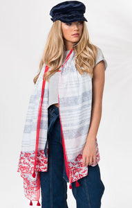 Nautical Stripe Embroidered Vinny Printed Cotton Scarf