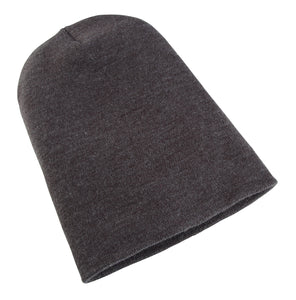 Heavyweight Long Beanie Hat Charcoal