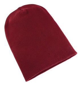 Heavyweight Long Beanie Hat Maroon
