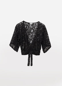Stunning Lace Zen Sequin Cover Up Top Black