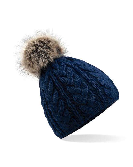 Cable Knit Beanie Hat Faux Fur Navy