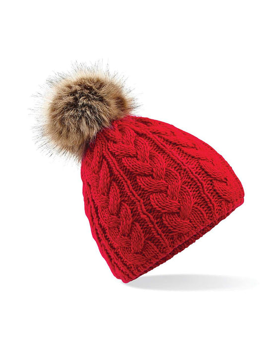Cable Knit Beanie Hat Faux Fur Red