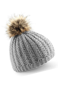 Dark Grey Beanie Hat Faux Fur Pom - Scattee
