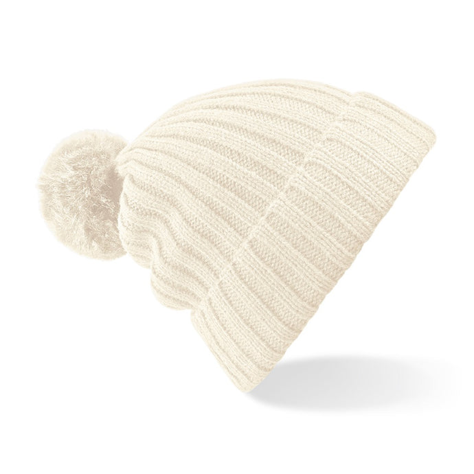Arosa Beanie Hat White Faux Fur Pom - Scattee