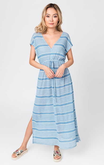 Bondi Maxi Dress Blue and White