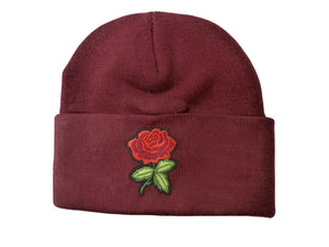 Embroidered Rose Beanie Hat - Scattee