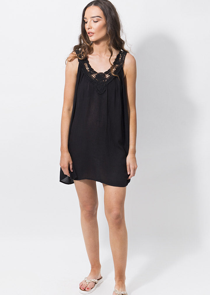 Summer Casablanca Crochet Beach Dress Black