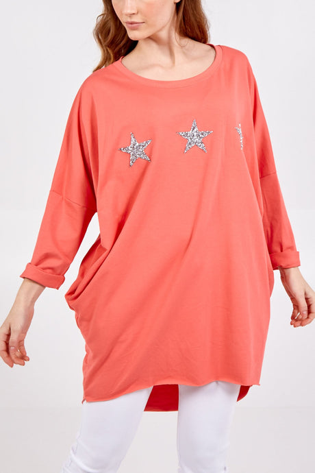 Made In Italy Glitter Stars Sweatshirt Coral