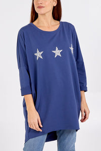 Made In Italy Glitter Stars Sweatshirt Denim Blue