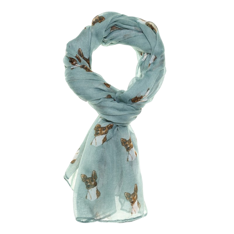 Dog Printed Lightweight Scarf Pale Green - Scattee