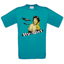 Load image into Gallery viewer, Fly Girl Nose Art Crew Neck T Shirt