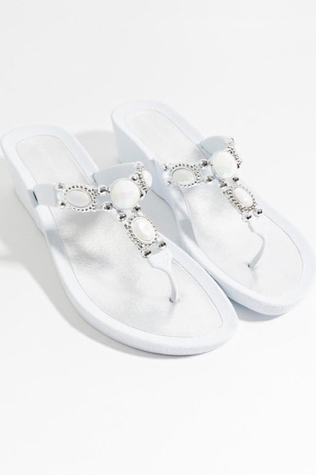 Stunning Summer Embellished Pool Sandal Appollo White