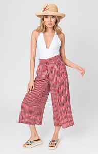 Striking and Unique Print Summer Goya Culottes Red