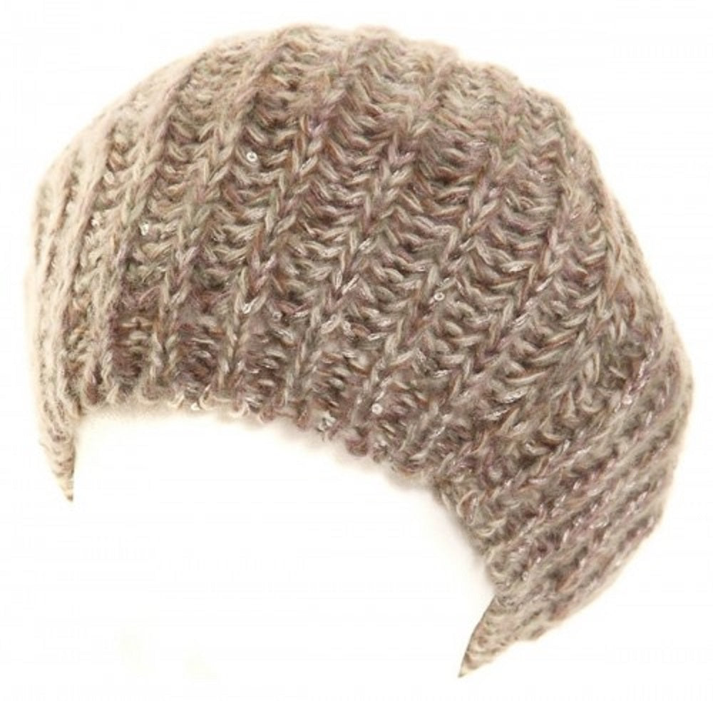 Knitted Sequin Beret Hat