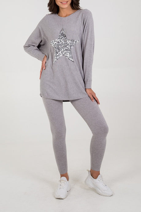 Sequin Star Batwing Top & Leggings Set Grey