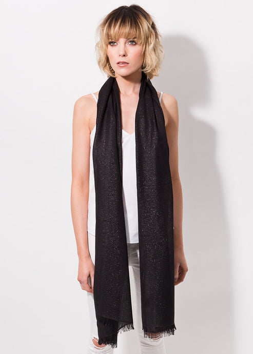 Hallie Metallic Shimmer Scarf Black