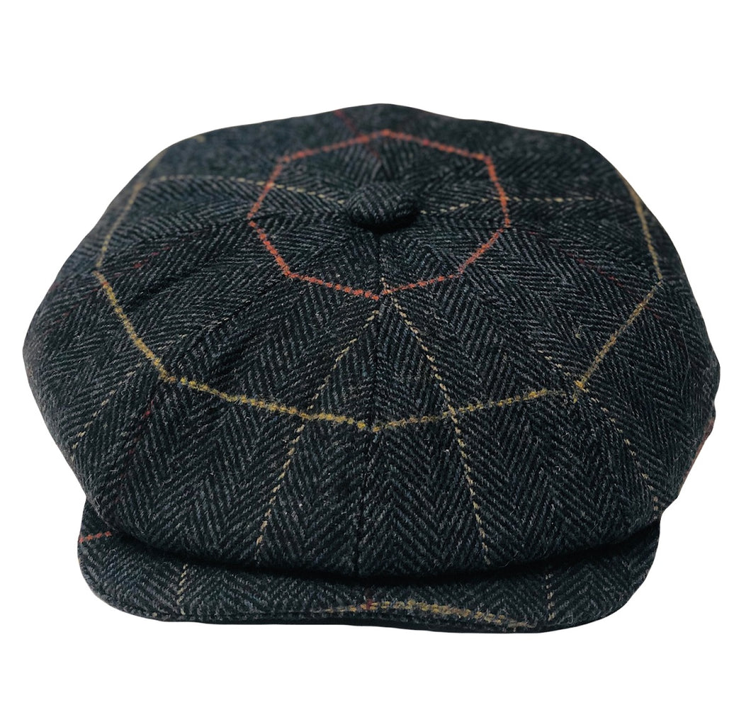 Baker Boy Mens Tweed 8 Panel Cap Blue - Scattee
