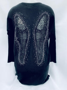 Round Neck Jumper With Crochet Angel Wings On The Back