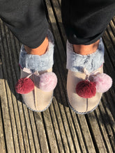 Load image into Gallery viewer, Dunlop Womens Dahlia Mule Pom Pom Slipper Beige