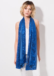 Stunning Sequin Chiffon Feel Isabelle Scarf Blue