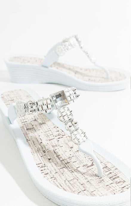 Summer Gem Embellished Jael Sandal White