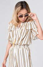 Load image into Gallery viewer, Lewes Striped Print Bardot Top