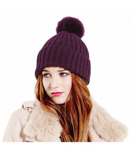 Load image into Gallery viewer, Arosa Beanie Hat Plum Faux Fur Pom