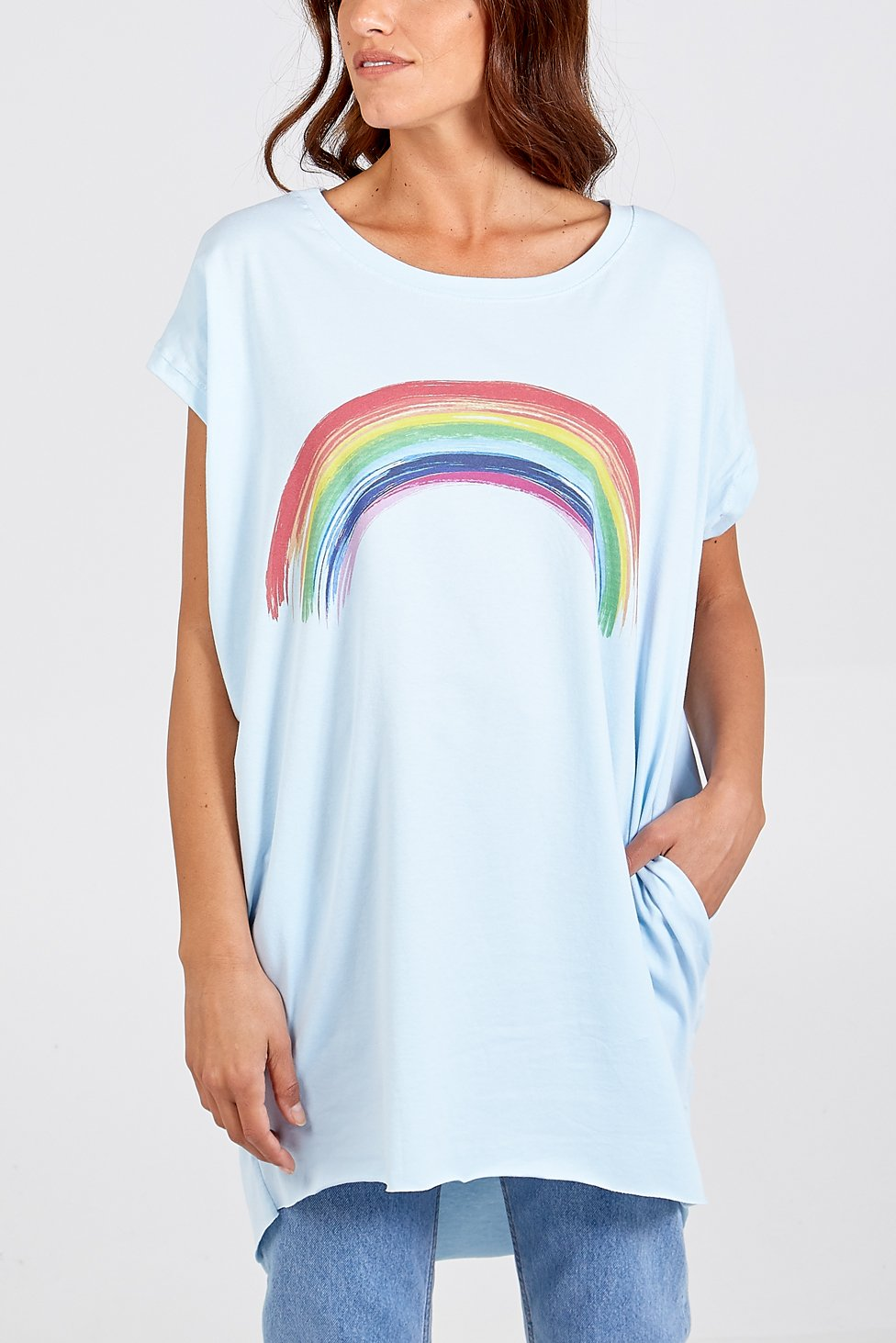 Made In Italy Rainbow Two Pocket Oversize Top