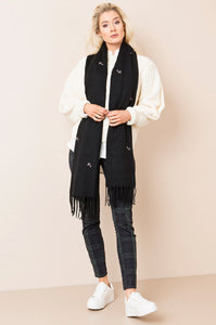 Rufus Embroidered Dog Scarf Black - Scattee