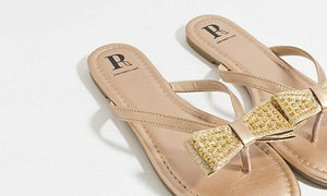 Tanvi Sandal with Bow Embellishment Gold
