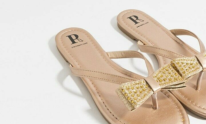 Summer Tanvi Sandal with Bow Embellishment Gold