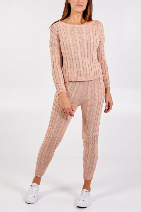 Cable Knit Two Piece Co-Ord Pink