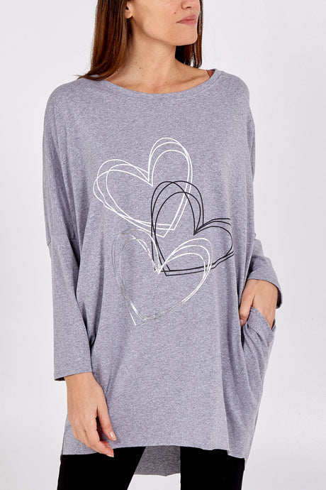 Made In Italy Metallic Heart Two Pocket Top Grey