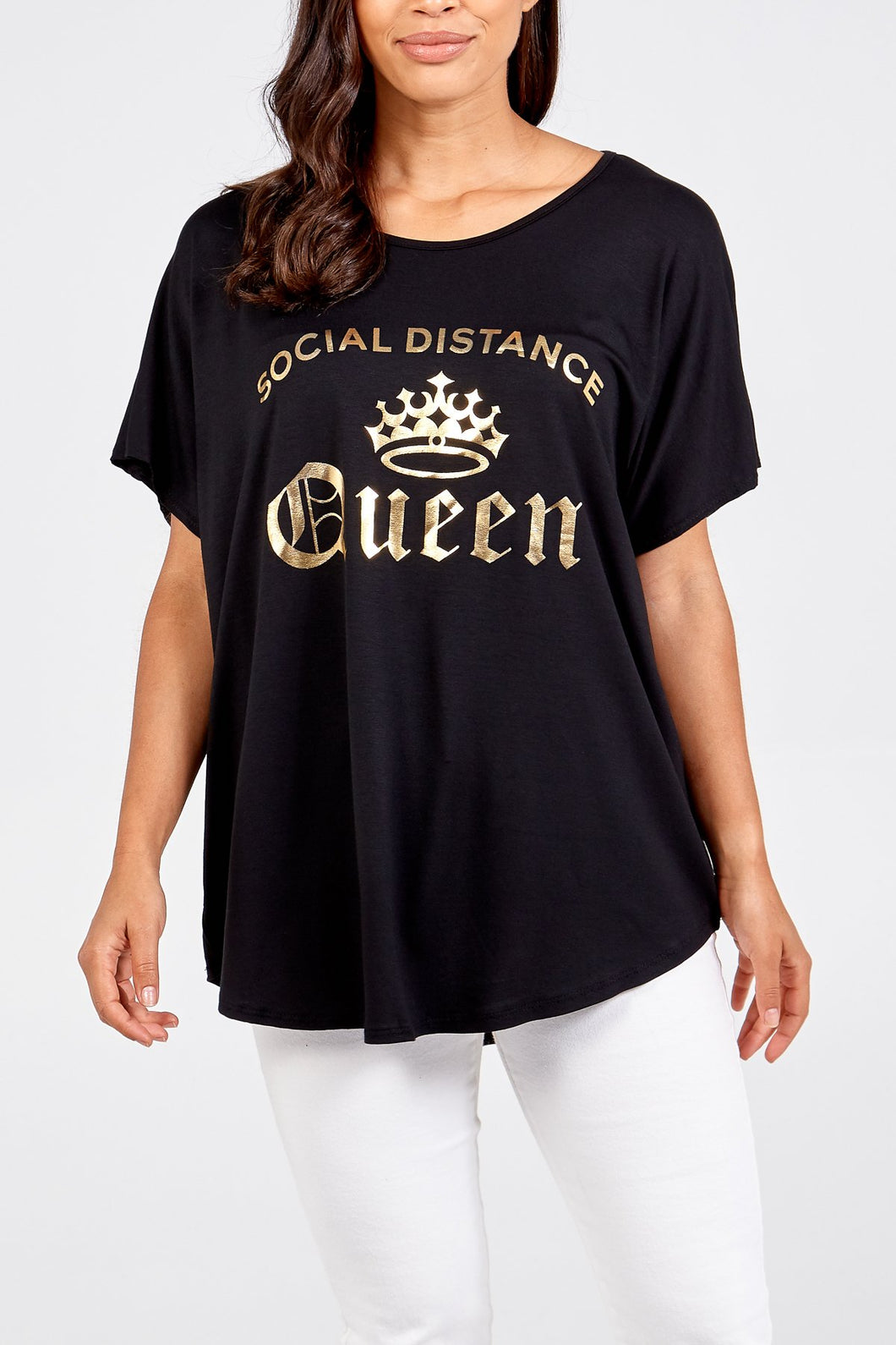 Social Distance Queen Gold Foil Top Black