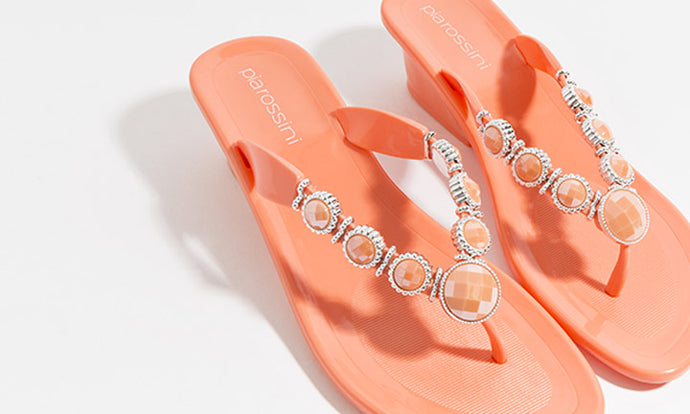 Stunning Jelly Sandal with Gemstone Detailing Selena Coral