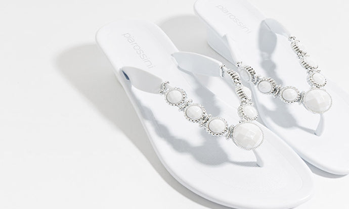 Stunning Gemstone Summer White Jelly Selena Sandal