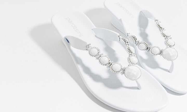 Jelly Sandal with Gemstone Detailing Selena White