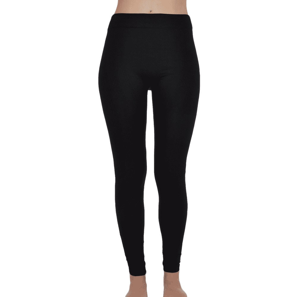 Full Length Fleece Lined Leggings Black - Scattee