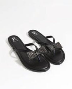 Tanvi Sandal with Bow Embellishment Black