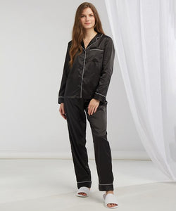 Women's satin long pyjamas Black