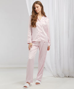 Women's satin long pyjamas Light Pink
