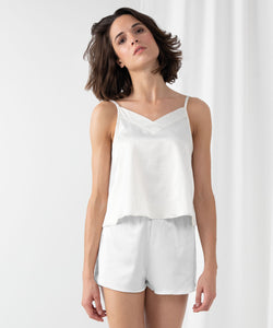 Women's satin cami short pyjamas White