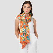 Load image into Gallery viewer, Vivre Floral Print Scarf Paprika With Pom Poms