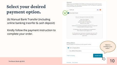 Select your payment by manual bank transfer