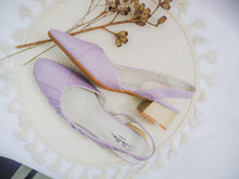 Load image into Gallery viewer, Ruched Wrinkled Pattern Slingback Heels [Yam Purple]